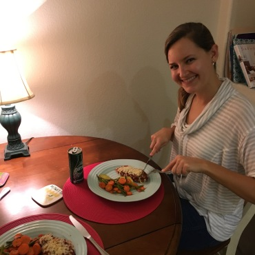 Liz and I enjoyed preparing this meal together, and comparing notes. Not pictured: the banana bread that we baked the day before!
