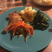 Mash, kale chips, rainbow carrot salad and crispy duck.