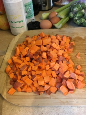 A big pile of sweet potato pieces, ready for the hash!