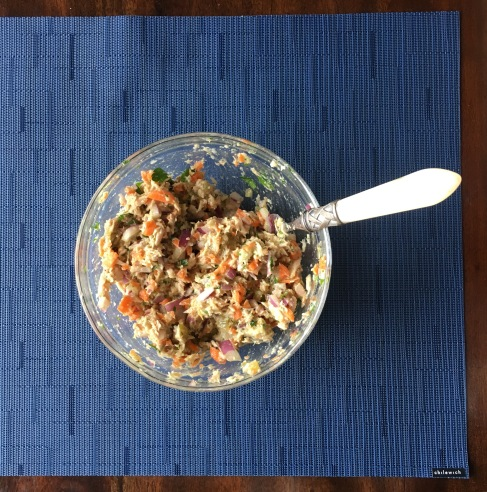 Tuna salad on my new Chilewich placemat.