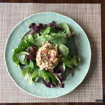 Tuna salad on greens on another new placemat.