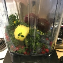 Frozen fruit and veggies, waiting in my Vitamix.