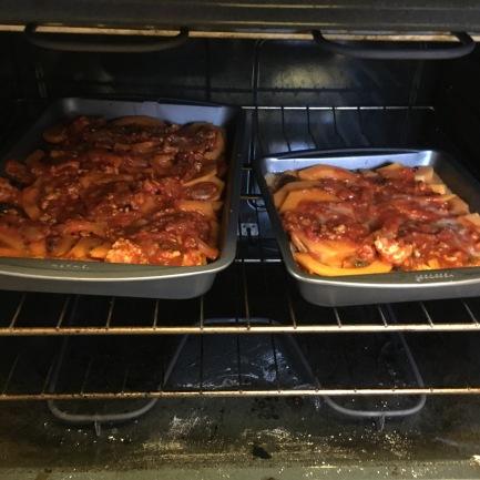 1.5 pans of lasagna, ready to bake.