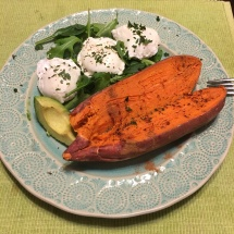 I love my poached eggs with sweet potato, too.
