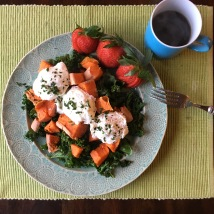 Fresh produce and hot poached eggs keep me satisfied all morning.