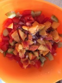 Panzanella/pozanella base, with peaches.