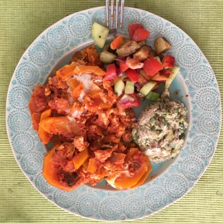 """Another leftover lunch combo, featuring tuna salad, butternut squash lasagna and """"pozanella."""""""