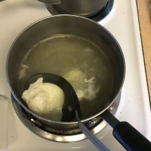 Scoop out your egg after about 3 minutes, using a ladle and draining extra (HOT) water.