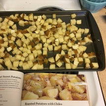 "Potatoes, ready to roast (thank you ""Good and Cheap!"")"
