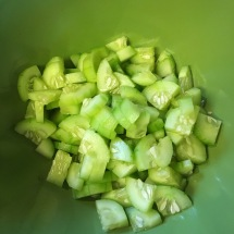 One peeled and chopped cucumer.