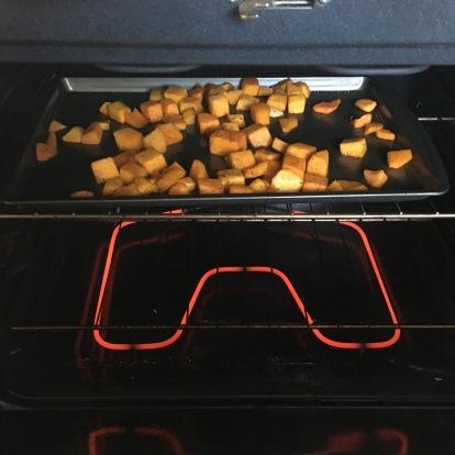 Butternut squash, seasoned and ready to roast.