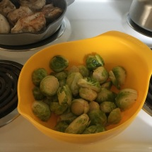 Halved Brussels sprouts, coated in olive oil, salt and pepper.