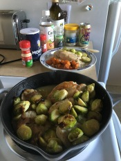 Brussels sprouts get nice and crispy in the oven, and both chicken and sprouts soak up wonderful, bright lemon flavors.
