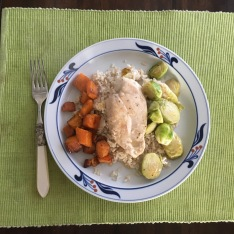 One pan lemon chicken and Brussels sprouts, with a side of roasted butternut squash.