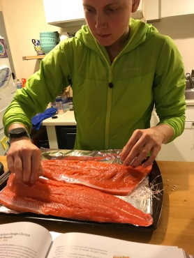 Two filets came from our coho salmon.